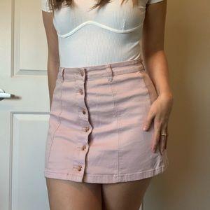 Forever 21 Pink Denim Button Front Skirt